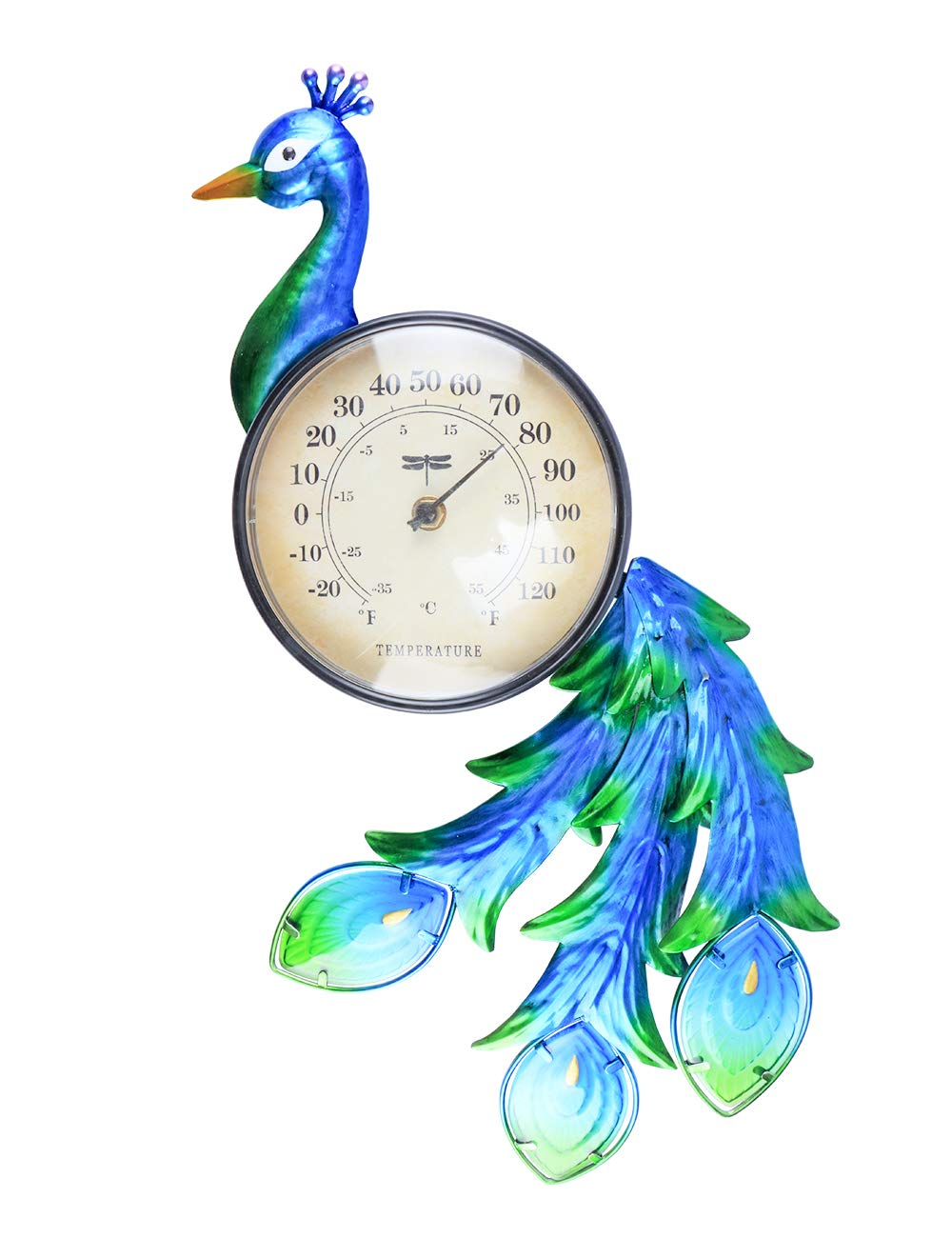 MUMTOP Thermometer Indoor Outdoor Patio Peacock Waterproof Wall-Mounted Thermometer Does not Require Any Battery