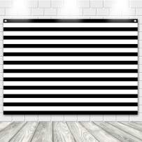 Photo Backdrop, econious 7X5ft Black White Stripe Photography Backdrop for Baby Shower Birthday Party Banner Photo Props,Resistant Fleece-Like Cloth Fabric, Grommets with Top(Backdrop Only)