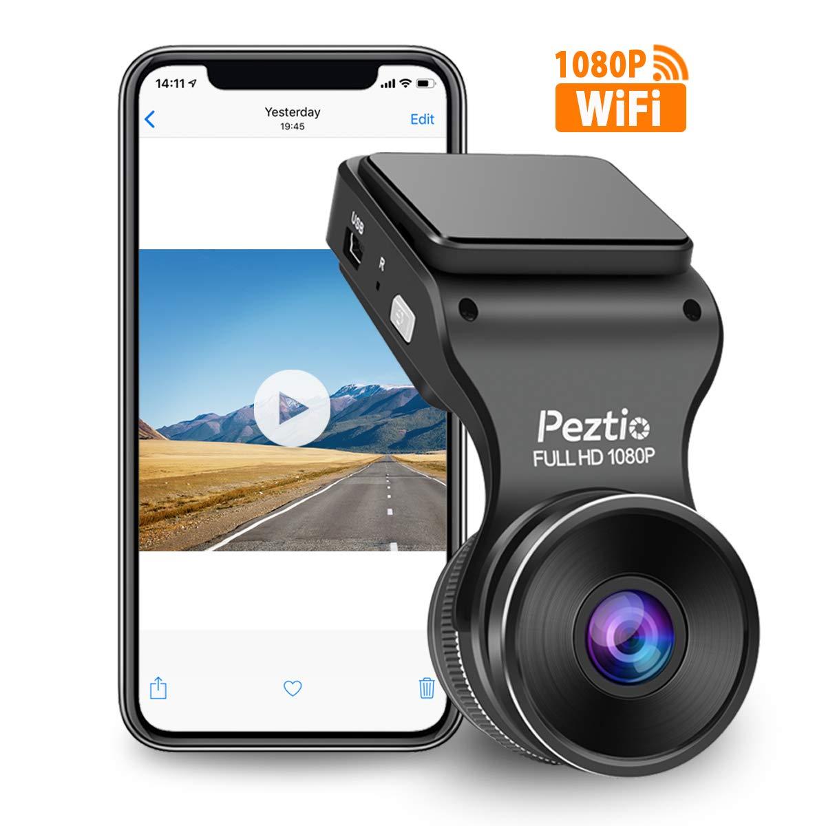 Peztio Dash Cam WiFi, FHD 1080P Dash Camera for Cars, Car Dash Camera Recorder, G-Sensor, 170 Wide Angle, Loop Recording, Parking Monitor, WDR, Night Vision, Motion Detection