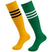 Diwollsam Long Soccer Socks for Women, Unisex Men 2 Pairs Stripes Bright Color Wide Calf Cheerleading Football Tube Dress Socks One Size(Yellow, Green)
