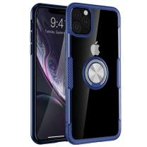 iPhone 11 Pro Max Case, Full Body Heavy Duty Crystal Clear Protective Anti-Scratch Shockproof Case [Work with Magnetic Car Mount] with 360 Degree Rotation Ring Holder Stand for iPhone 11 Pro Max,Blue