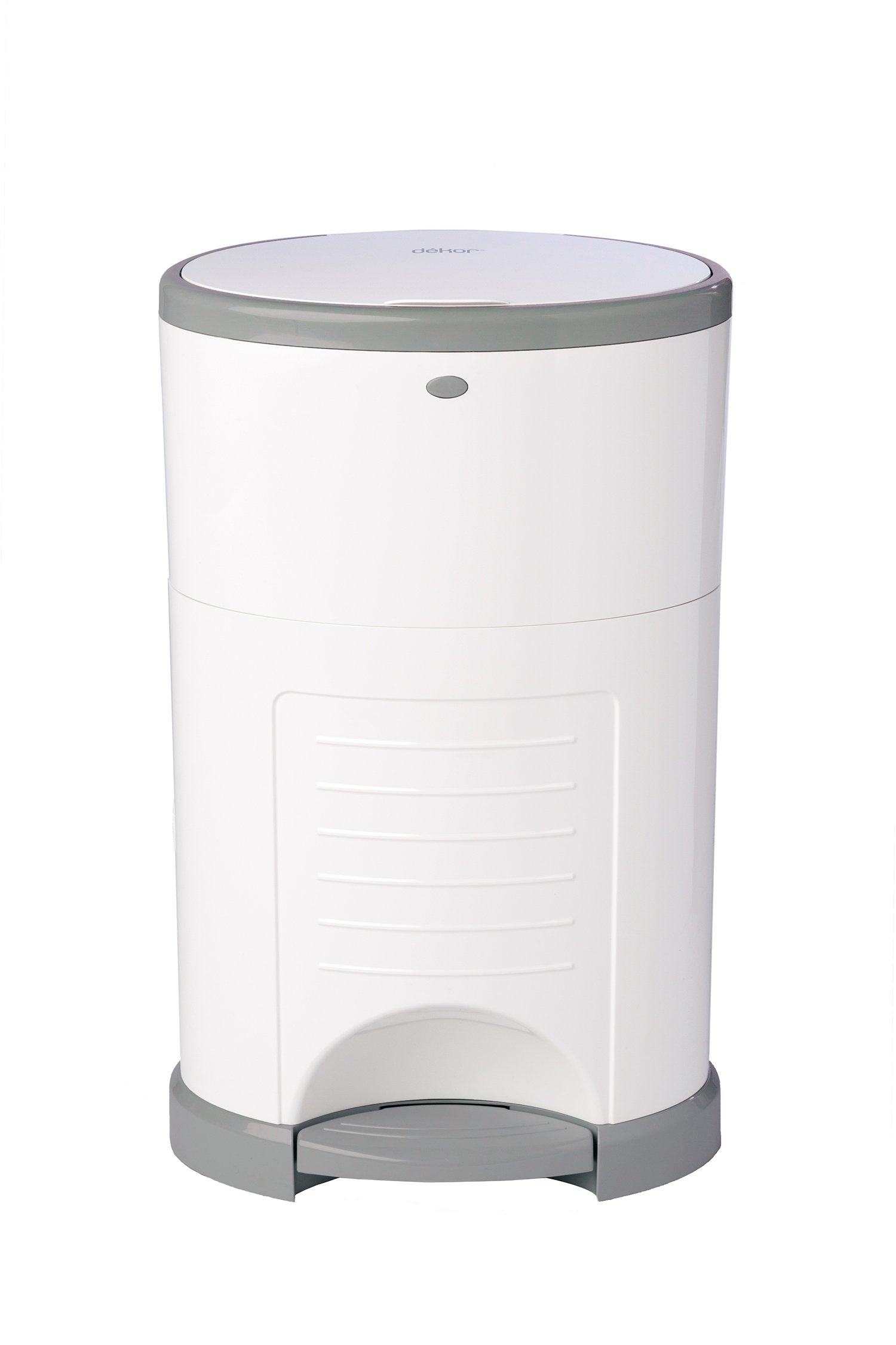 Dekor Classic Hands-Free Diaper Pail   White   Easiest to Use   Just Step – Drop – Done   Doesn't Absorb Odors   20 Second Bag Change   Most Economical Refill System