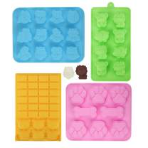 LEEFE Silicone Chocolate Molds, Set of 4 Animal Baking Candy Mold Reusable Hard Candy Trays Making Suppies for Fat Bombs, Ice Cube, Cake Decorations, Gummy, Jello