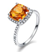 1.87ct Natural Citrine Ring in 14K White Gold 22 Points Diamond Wedding Engagement Ring Set for Ladies
