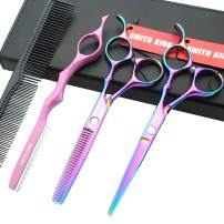 6.0 Inches Professional hair cutting thinning scissors set with razor (Rainbow)