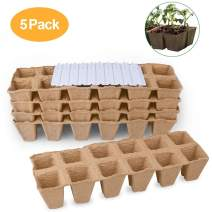 OFUN Seedling Trays, Sow and Grow Seed Starter Peat Pots for Herbs Vegetable Fruit Flower, Indoor & Outdoor, 60 Cells Plant Cups Biodegradable & Organic with 20 Waterproof Plant Markers