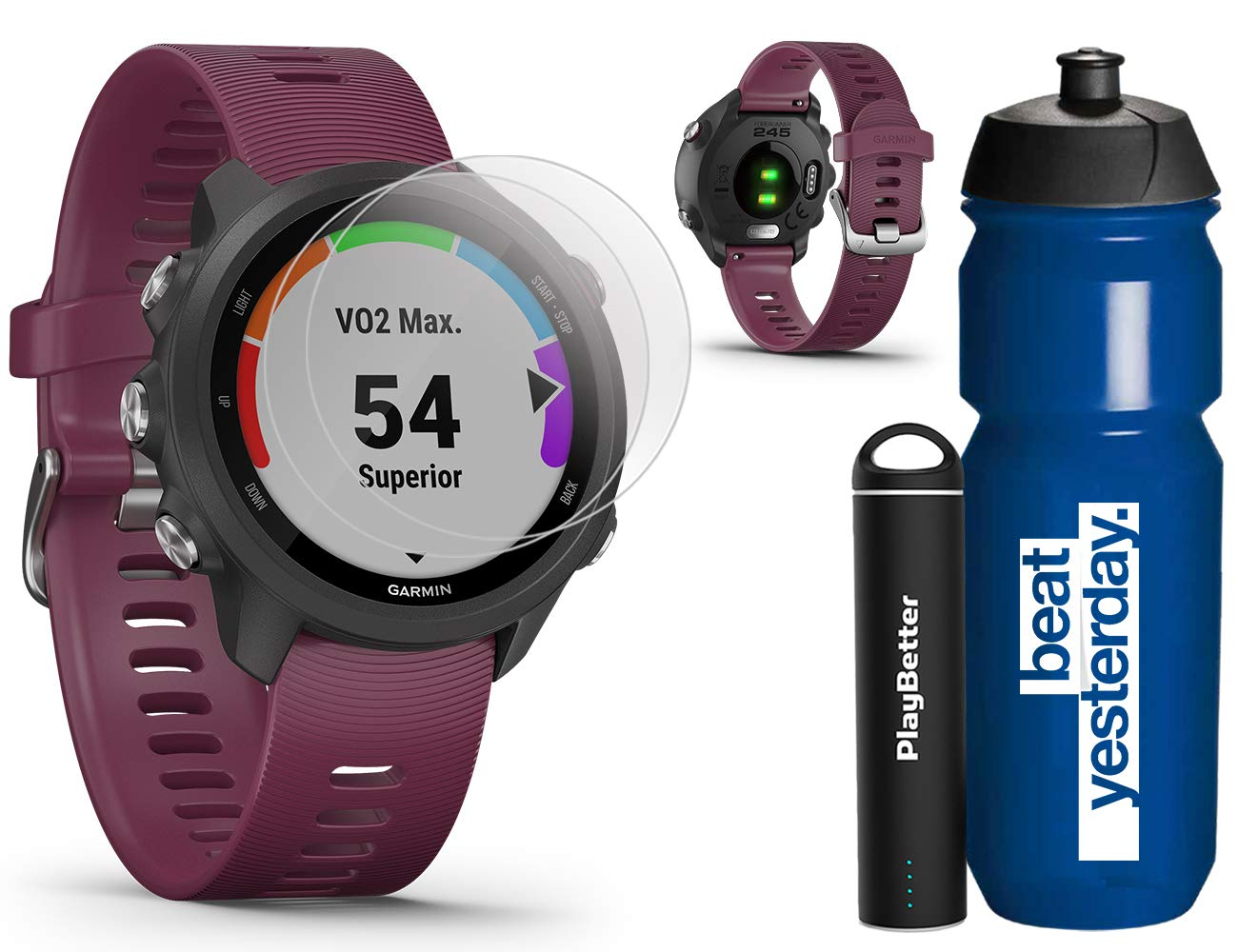 Garmin Forerunner 245 (Berry) Runner's Bundle   +Garmin Water Bottle, HD Screen Protectors & PlayBetter Portable Charger   PulseOx   Running GPS Watch   010-02120-01