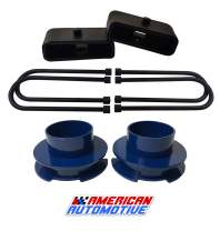 """American Automotive 1997-2003 F150 Lift Kit 3"""" Blue Front Coil Spacers + 1.5"""" Rear Blocks 'Road Fury' Leveling Lift Kit 2WD"""