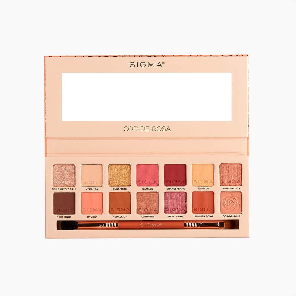 Sigma Beauty 14 Shade Eyeshadow Makeup Color Palette Shimmer Glitter Eye Cosmetic Powder, Cor-De-Rosa