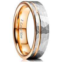NaNa Chic Jewelry 4mm/6mm Women Tungsten Carbide Wedding Ring Hammer Polished Inner Hole & Edge Plated Rose Gold Wedding Band