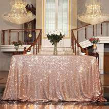 Eternal Beauty Sequin Tablecloth, Rectangular Sequin Table Cloth for Party, Cake Dessert Sparkly Sequin Overlay (Rose Gold, 60x126-inch)