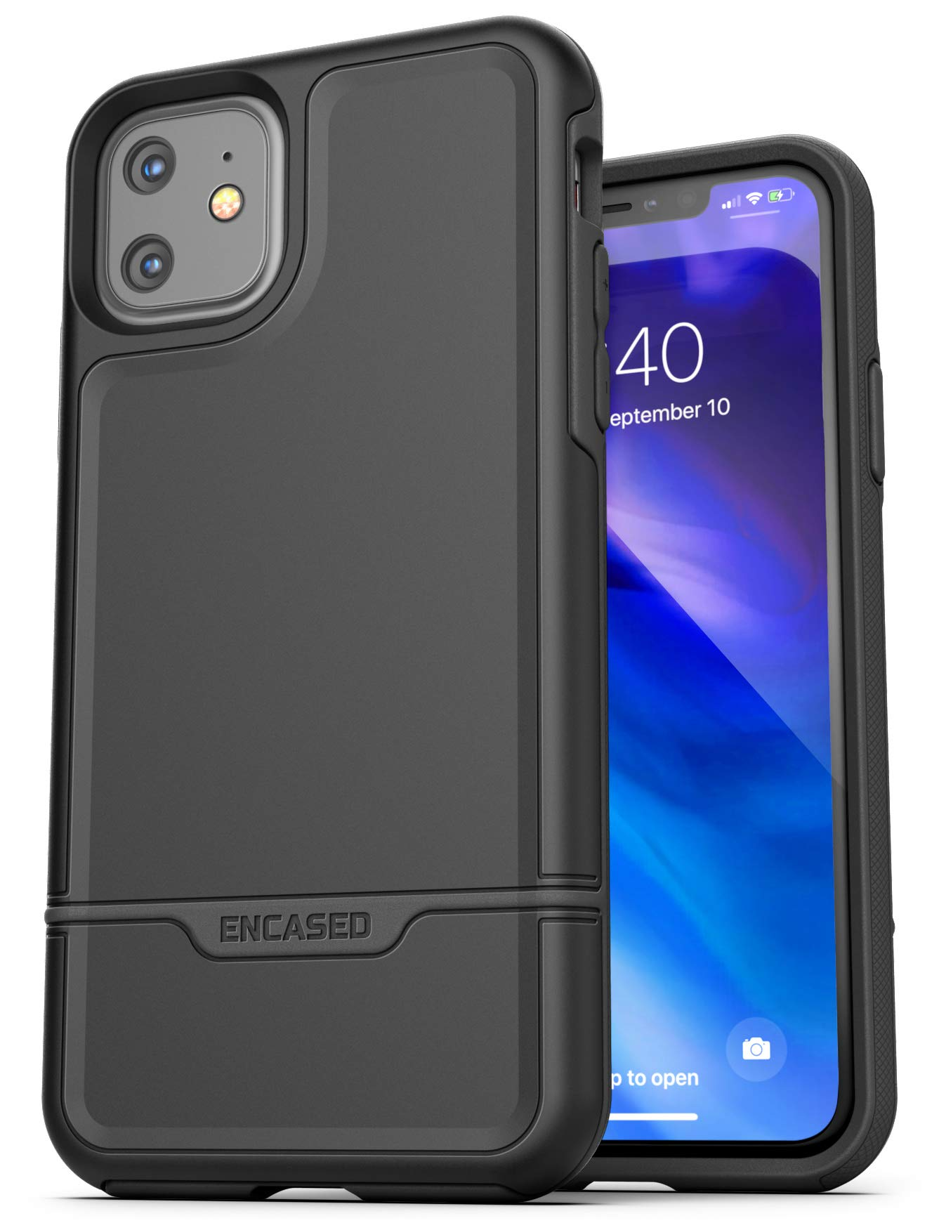 Encased Heavy Duty iPhone 11 Protective Case (2019 Rebel Armor) Military Grade Full Body Rugged Cover (Black)