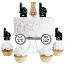 Big Dot of Happiness My Dad is Rad - Dessert Cupcake Toppers - Father's Day Clear Treat Picks - Set of 24