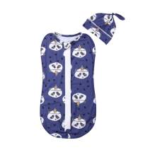 Baby Swaddle Set Cotton Zipper Cartoon Receiving Blanket Wrap Sleeping Bag for Baby Boys or Baby Girls (Panda, 3-6 Months)