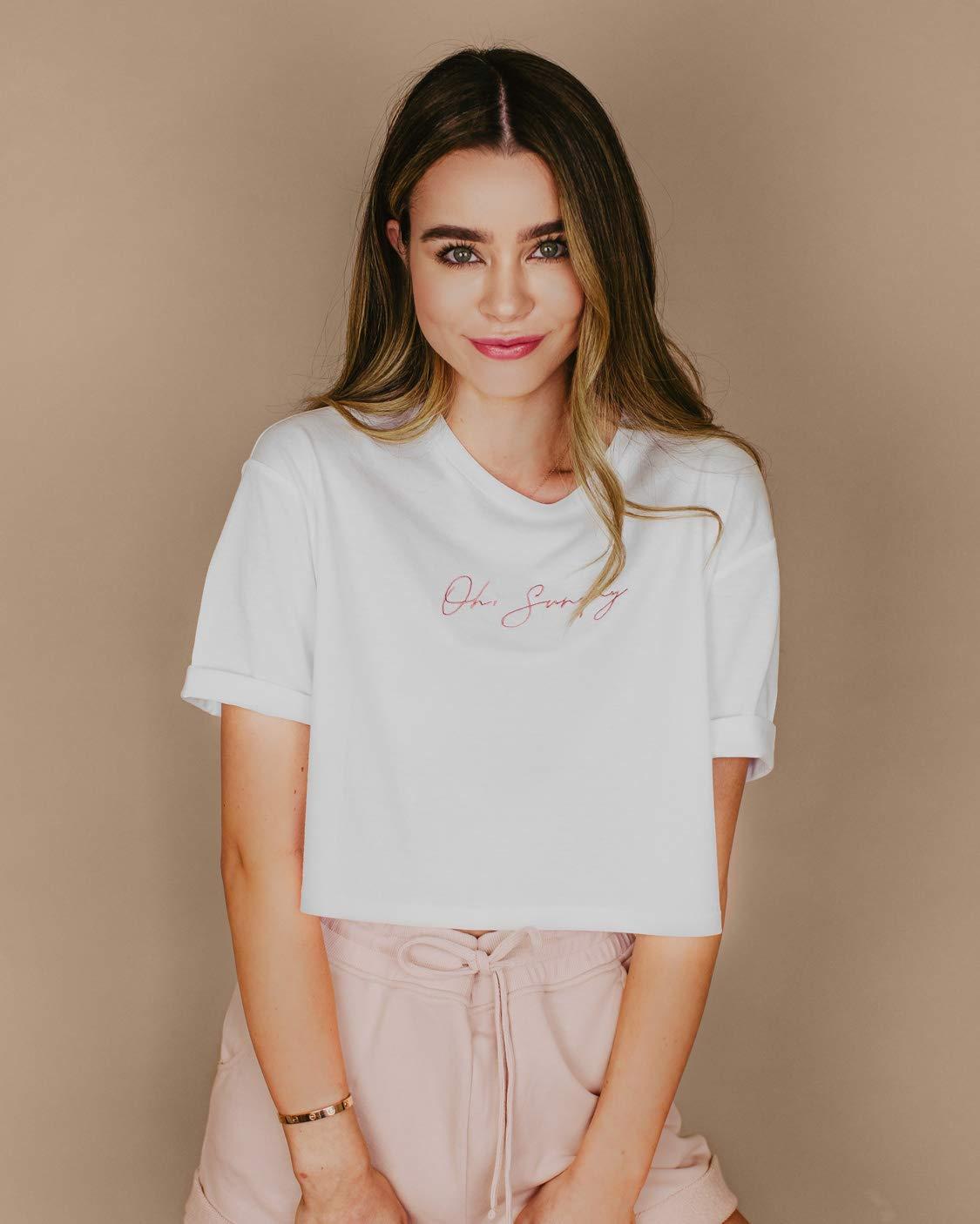"The Drop Women's White Boxy ""Oh Sunday"" Script Logo T-Shirt by @sierrafurtado"