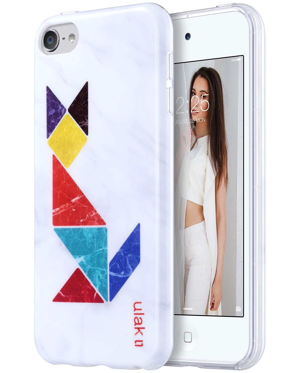 ULAK iPod Touch 7 Case, iPod Touch 6 Case, Slim Fit Anti-Scratch Flexible Soft TPU Bumper PC Back Hybrid Protective Case for iPod Touch 5th/6th/7th Generation, Marble+Tangram Fox