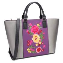 Womens Large Floral Embroidery Tote Handbag Two Tone Top Handle Bag Work Satchel Purse
