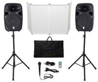"""Rockville RPG152K Dual 15"""" Powered Speakers, Bluetooth+Mic+Stands+Cables+Facade"""