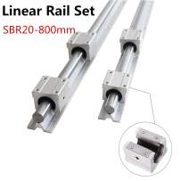Linear Rail 2Pcs SBR20-800mm/31.5 inch Linear Slide Guide Rail with 4Pcs SBR20UU Square Type Bearing Block, Linear Sliding Guideway for Fully suppoeted Shaft Rod
