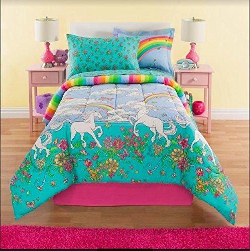 Kidz Mix Royal Linens Unicorn, Flowers and Rainbows, Eight Piece Reversible Full Comforter Set, Comforter, Pillow Case, Pillow Sham, Flat Sheet, Fitted Sheet, Pillow Case,Full Size Bed