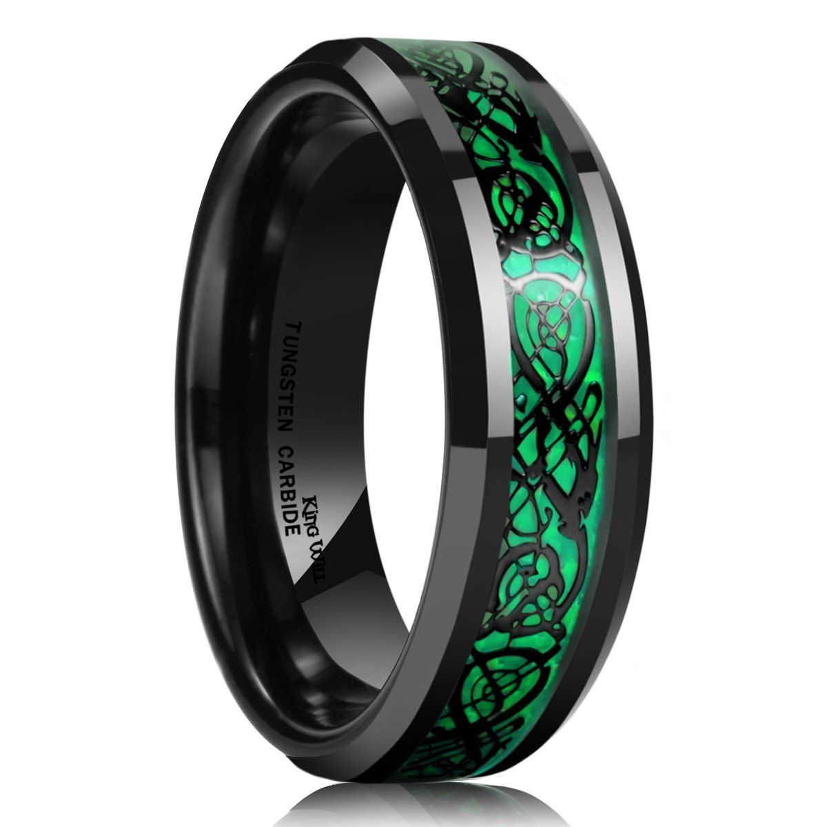 King Will Dragon Men's 5mm/8mm Green Carbon Fiber Black Celtic Dragon Tungsten Carbide Ring