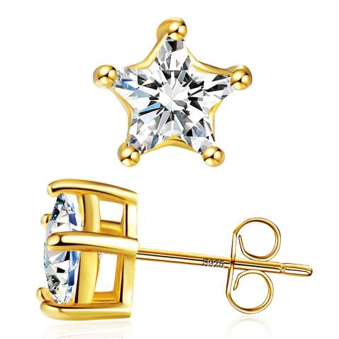 5Pairs 20X27mm 14K Gold Plated Brass C Ear Studs Geometry Earring Studs With 925 Sterling Silver Pin GG082