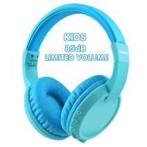 Votones Wireless Kids Headphones Bluetooth, 85dB Volume Limiting Foldable Kids Headphones Over The Ear Headphone for PC Tablet iPad iPhone Smartphone Calling Music Game Headphone (Blue)