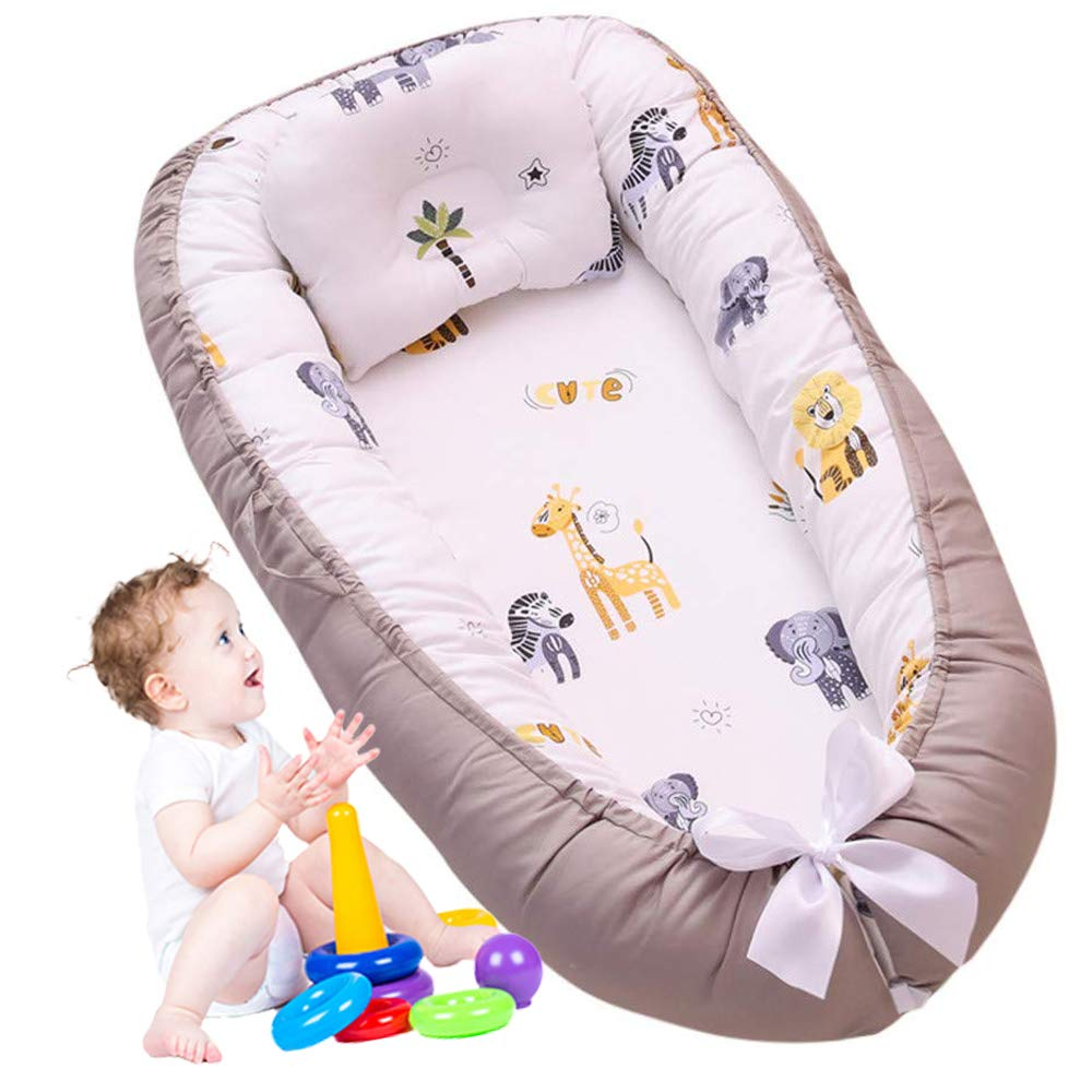 Brandream Baby Nest Baby Lounger Baby Bassinet for Bed - 100% Soft Cotton Sharing Cosleeping Baby Bed Premium Quality Portable Crib (Safari)