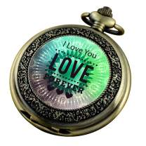 VIGOROSO Pocket Watch for Women Her Wife Mom Engraved I Love You Forever, Personalized Pendants for Mother's Day Birthday Anniversary in Box
