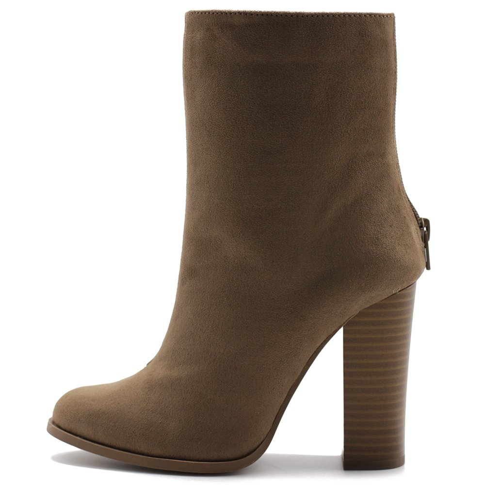 Ollio Women's Shoe Faux Suede Back Zip Up Stacked High Heel Ankle Boots