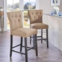 Christopher Knight Home Danar Fabric Counterstool, 2-Pcs Set, Mocha