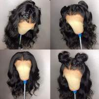 Fureya Short Bob Wigs with Baby Hair Natural Wavy Glueless Lace Front Wigs Synthetic Heat Resistant Fiber with Natural Hairline 14 inch Bob Wigs
