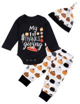 Thanksgiving Baby Boys Girls 3PC Clothes Set Newborn My 1st Thanksgiving Letter Print Long Sleeve Romper Pumpkin Pant