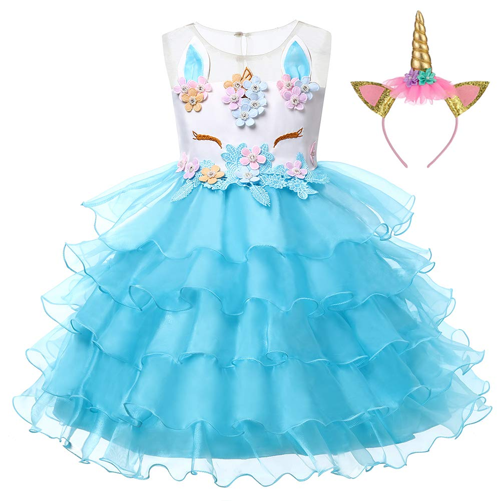 LZH Girl Unicorn Flower Dress Cosplay Costume Pageant Birthday Party Princess Dresses with Headband