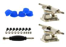 Teak Tuning Professional Fingerboard Trucks with Dark Blue Bubble Bushings, 32mm, Chrome Silver (Set of 2)