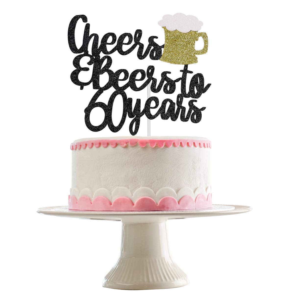 Black Glittery Cheers & Beers To 60 Years Cake Topper for 60th Birthday Party Wedding Anniversary Party Decoration Supplies