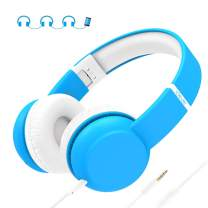 iClever HS15 Kids Headphones - Wired Headphones for Kids Stereo Sound Adjustable Metal Headband Microphone Foldable Tangle-Free Wires 94dB Volume Limiting - Childrens Headphones Over Ear, Blue