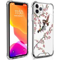 TAIPY iPhone 11 Pro Max Case [6.5Inch] Hummingbird and Flower Crystal Clear Design PC+TPU Environmentally Friendly Blended Material Case with 4 Corners Shock Skid Proof Protection Cover