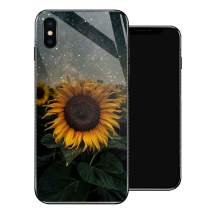 iPhone X Case,Sunflower Stars iPhone Xs Cases for Girls,Tempered Glass Pattern Design Back Cover [Shock Absorption] Soft TPU Bumper Frame Support Case for iPhone X/XS Night Starry Flowers