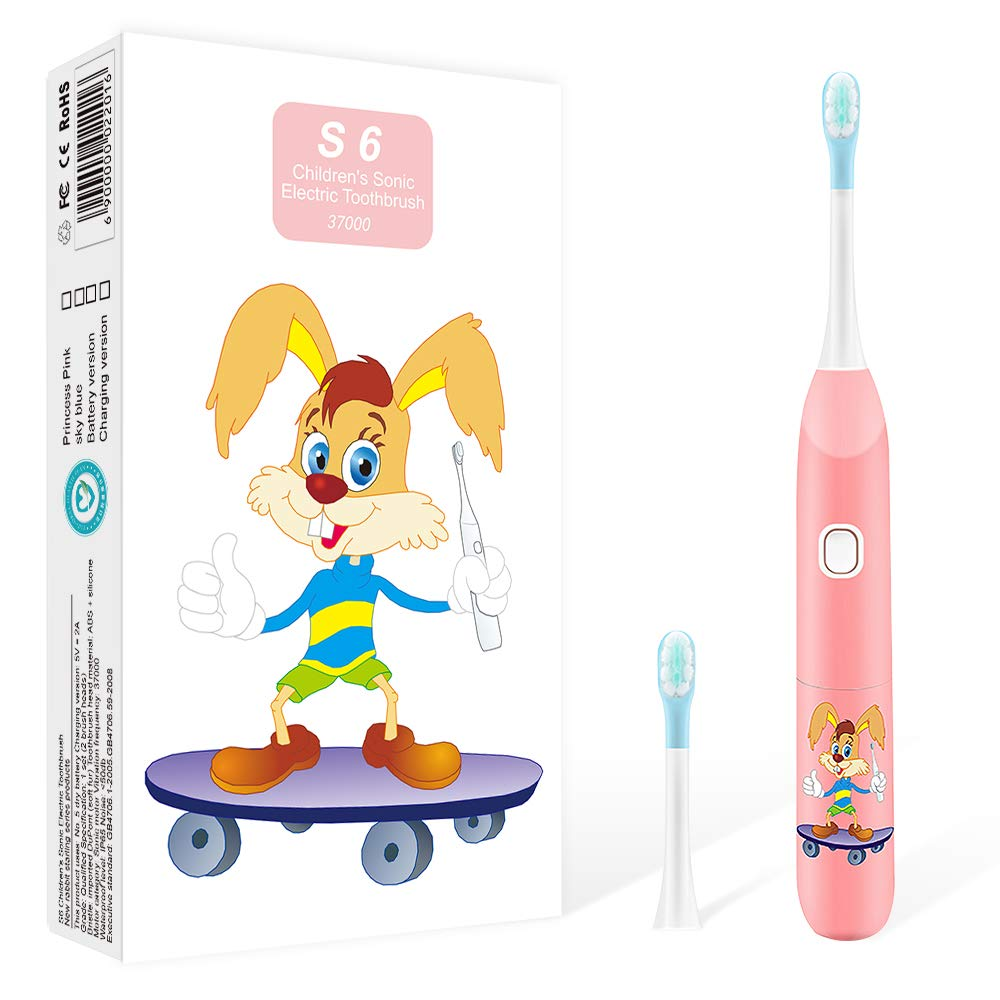 Kids Toothbrush Electric, Baby Children Battery USB Rechargeable Sonic Toothbrush for Girls Boys,Soft Bristles Head ,3 Modes with Smart Timer,Waterproof for Shower,Cute by the Vzusa ,Pink (Recharge)