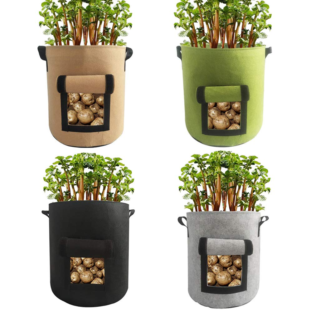 EIIORPO Potato Plant Bags 4 Pack Colorful Mix,Durable Grow Bags 4//7//10 Gallon Nonwoven Aeration Fabric Pots with Handles,Grow Containers for Vegetable//Flower//Nursery. 4-Pack-4 Gallon