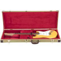 Topeakmart Deluxe Electric Guitar Case Tweed Lockable W/Keys Handle Gold