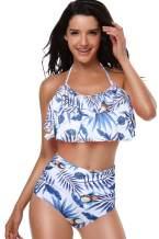 OLCHEE Women's Retro Two Piece Bikini Swimsuit - High Waisted Falbala Halter Neck Bathing Suits