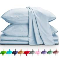 URBANHUT Egyptian Cotton Sheets Set (4 Piece) 800 Thread Count - Bedspread Deep Pocket Premium Bedding Set, Luxury Bed Sheets for Hotel Collection Soft Sateen Weave (Queen, Light Blue)