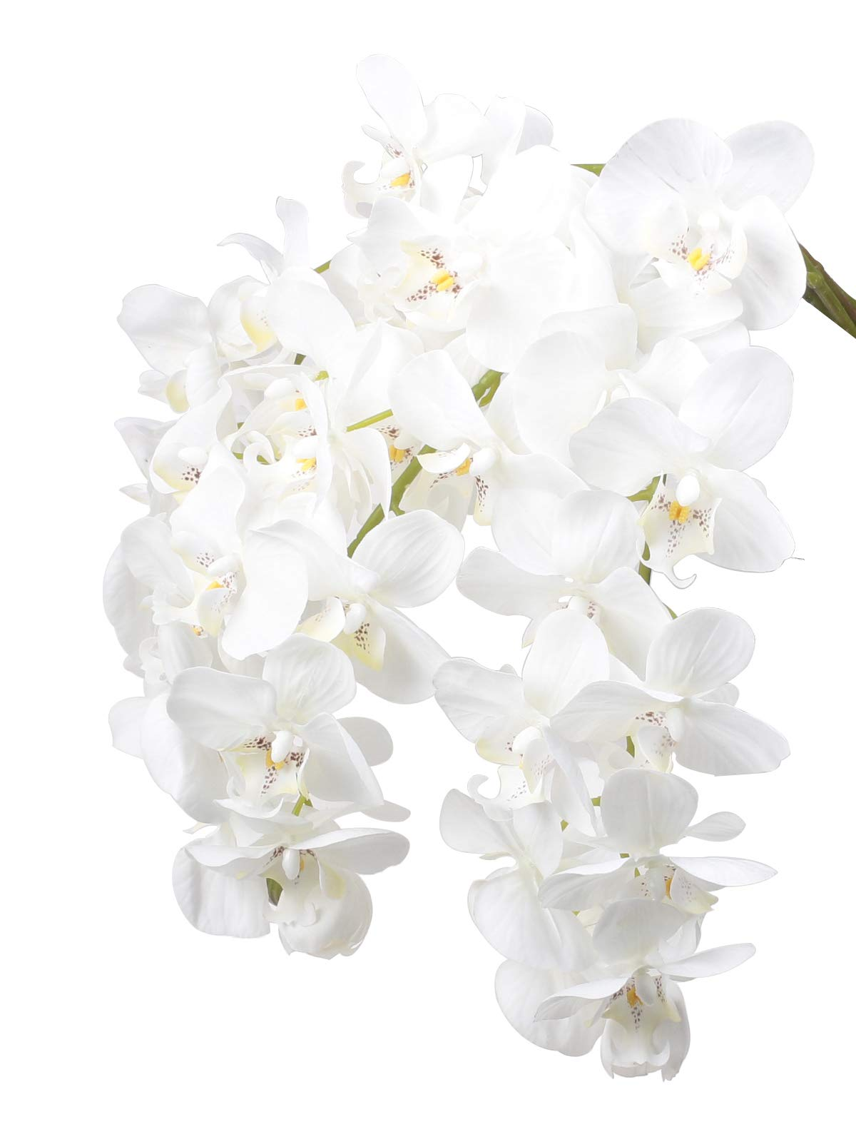 """Ivalue 28"""" Artificial Orchid Flower Stem Plants Pack of 4 Real Touch White Simulation Butterfly Phalaenopsis Flowers for Home Wedding Party Decoration (4, White Orchid)"""