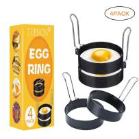 Egg Ring,Egg Ring Set,Egg Cooking Rings,Round Egg Pancake Maker Mold with Oil Brush,Stainless Steel Non Stick Metal Circle Shaper Mold,Kitchen Cooking Tool for Frying McMuffin or Shaping Eggs,4 Pack