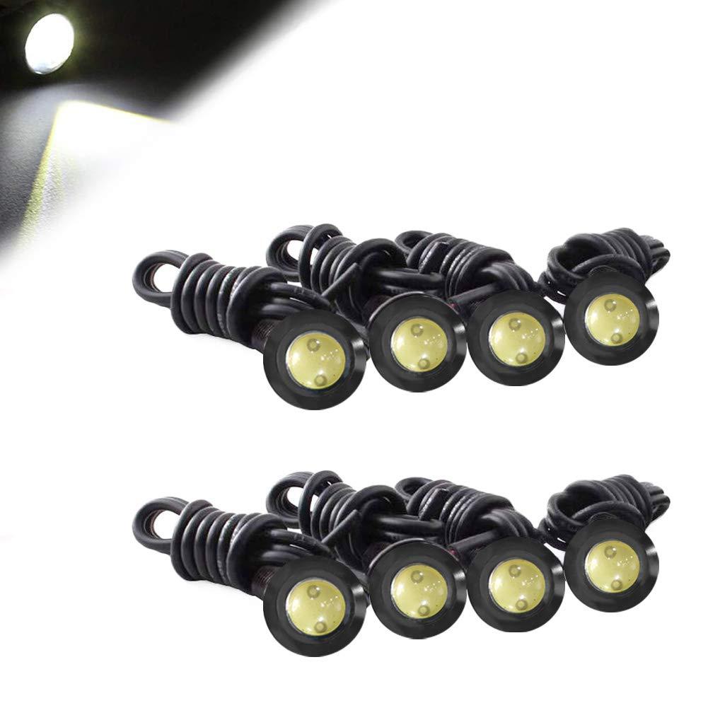 HOTSYSTEM Eagle Eye Led Light Bulbs 3W DC12V 12mm for Off-Road Car ATV Camper Trunk Motorcycle Day Time DRL License Plate Turn Signal Stop Parking Tail Reverse Fog Trunk Backup Light (White,8-Pack)