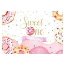 Funnytree Donut Sweet One Backdrop for Girls 1st Birthday Party Photography Background Grow Up Pink Golden Glitter Children Cake Table Banner Decorations Photo Booth Props 7x5ft