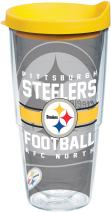 Tervis 1180579 NFL Pittsburgh Steelers Gridiron Tumbler with Wrap and Yellow Lid 24oz, Clear