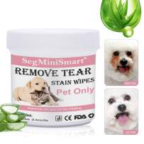 SEGMINISMART Pet Eye Wipes, Pet Tear Stain Wipes, Pet Wipes, Pet Eye Stain Remover Wipes for Dogs Cats, Best Natural Eye Crust Treatment for White Fur, 100 Pre Soaked Cotton Pads
